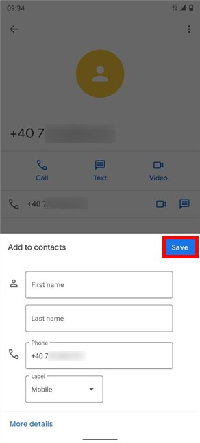 Insert details for the new contact and Save
