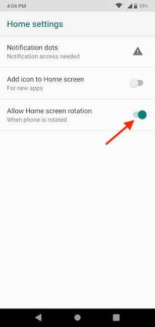 Habilite el interruptor para permitir que la pantalla de inicio gire