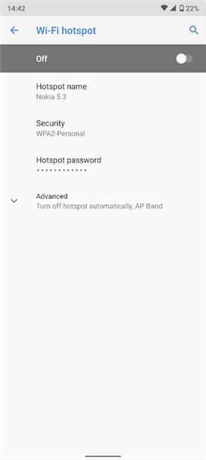 Wi-Fi hotspot settings