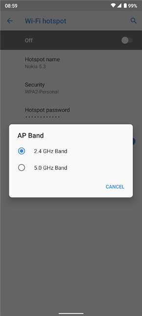 You can select a different AP band to boost hotspot speed