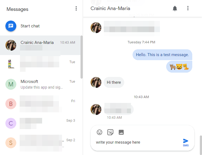 Android Messages for web
