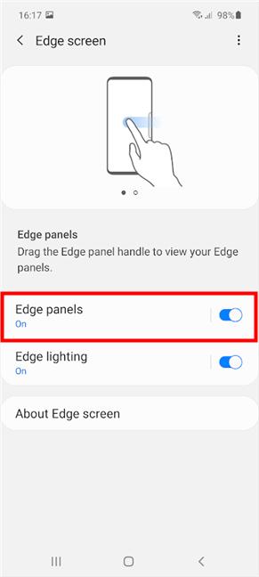 Encienda el interruptor o toque Paneles de borde para obtener más configuraciones