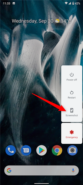 Press Screenshot from the Power button menu