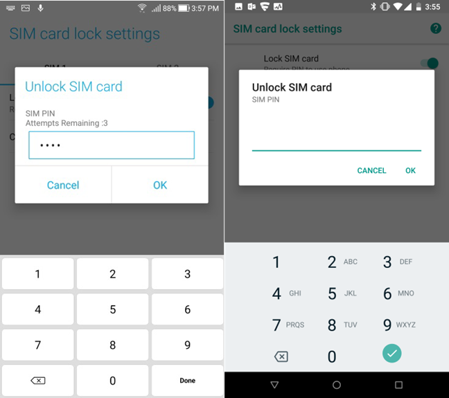 Enter the existing SIM PIN in Android