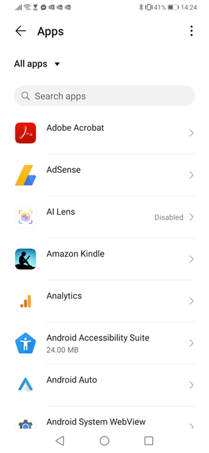 The list of apps installed on your Android device