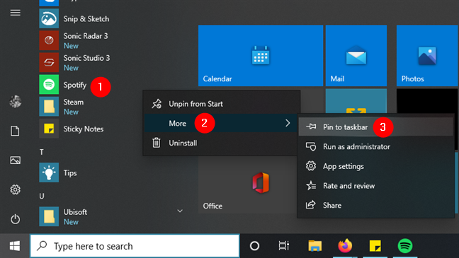 Pinning an app to the taskbar in Windows 10