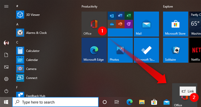 Creating a link to an app on the taskbar in Windows 10