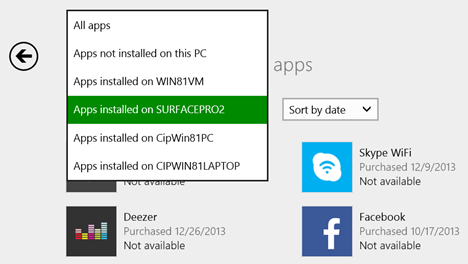 Windows 8.1, apps, list, Store, installed, not installed