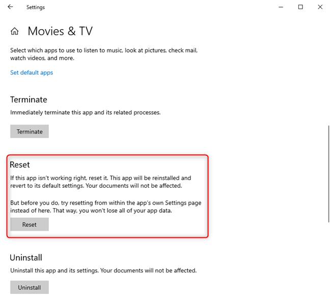 The reset section for a Windows 10 app