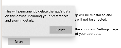 Resetting a Windows 10 app