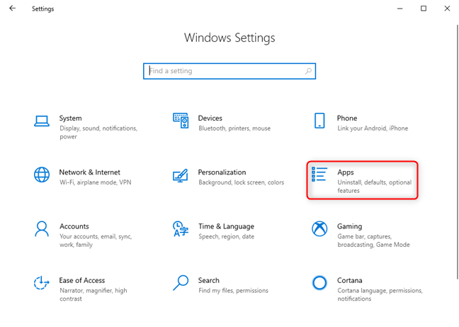 Windows 10 Settings - Go to Apps