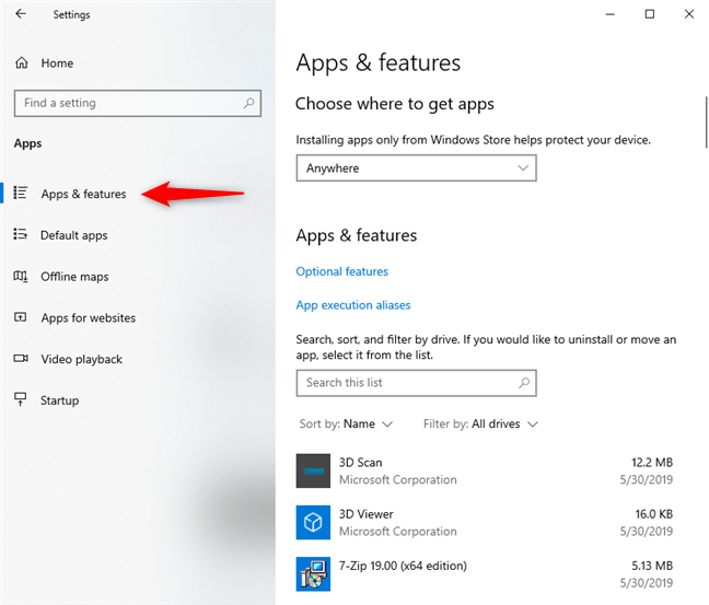 Windows 10 Settings - Go to Apps & features