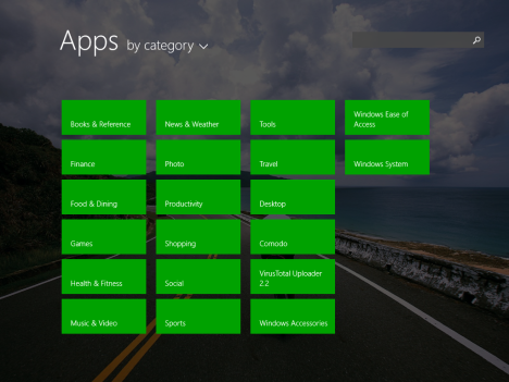 Windows 8.1, Apps View, category, name, installed date, usage, programs