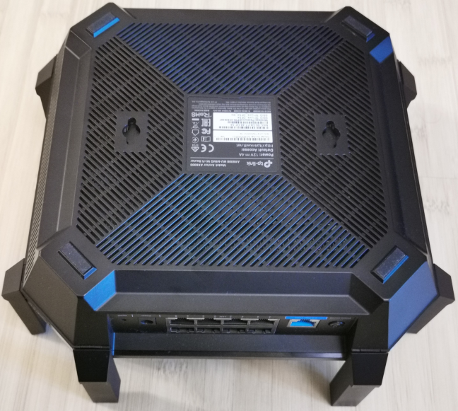 The bottom of the TP-Link Archer AX6000 router