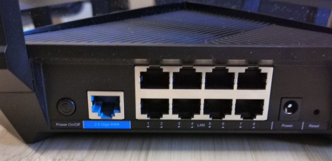 The ports on the back of the TP-Link Archer AX6000