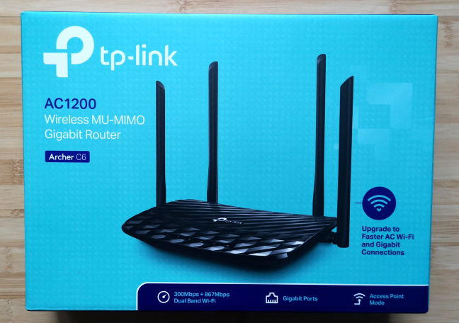 The packaging of the TP-Link Archer C6 wireless router