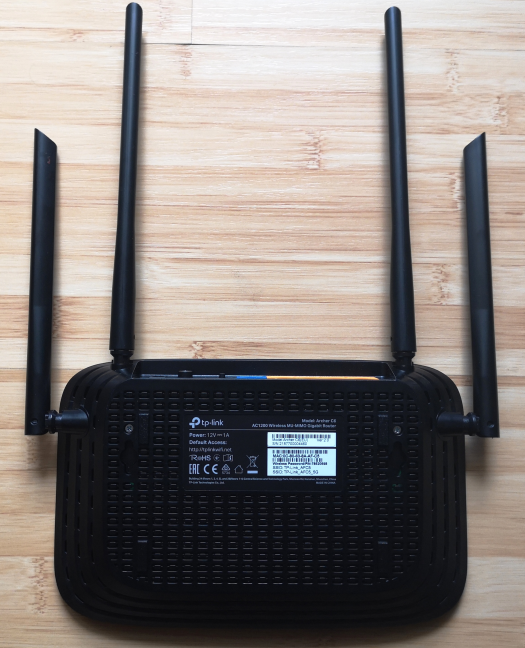 The bottom of the TP-Link Archer C6 AC1200 wireless router