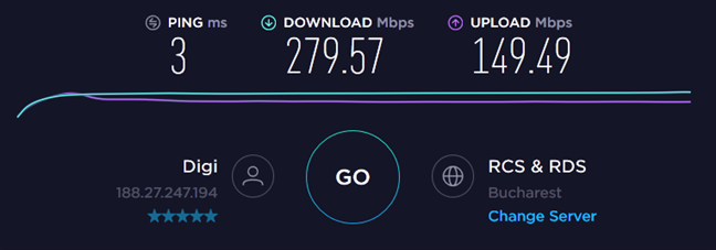 Speedtest results when using the gaming laptop