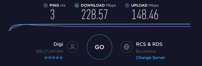 Speedtest results when using the TP-Link Archer T2U Plus on a desktop PC