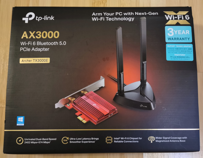 The packaging for TP-Link Archer TX3000E