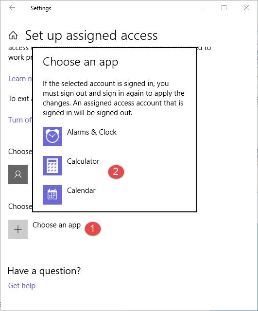 Windows 10, assigned access