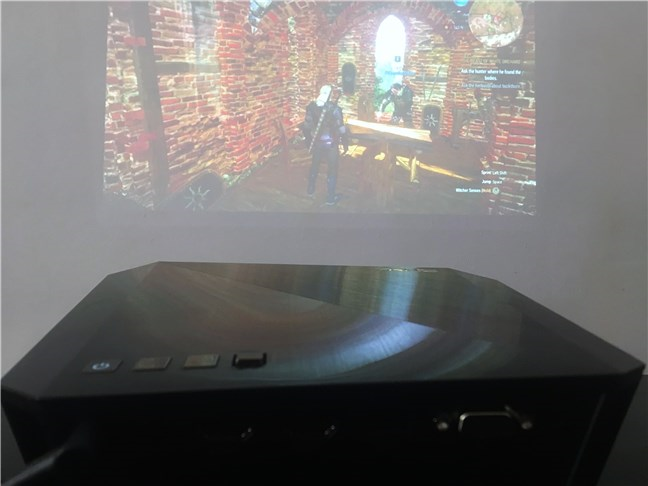 Playing Witcher 3 on the ASUS F1 Full HD LED projector