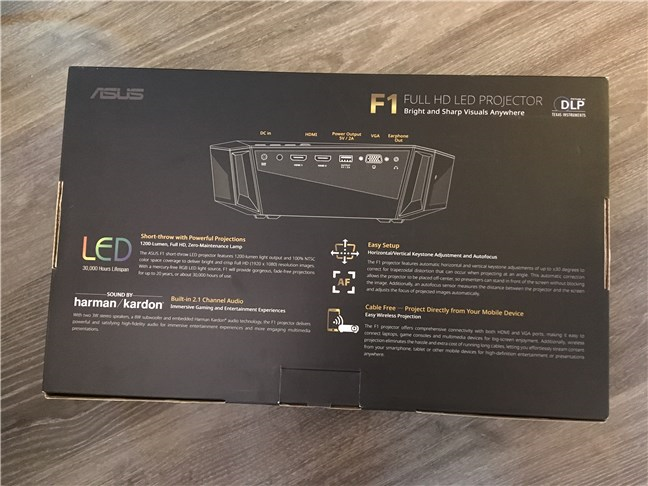 The back of the ASUS F1 Full HD LED projector package