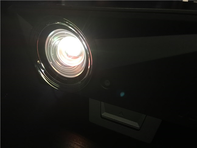 A perspective of the lens on the ASUS F1 Full HD LED projector