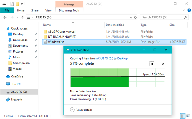 Copying a large file from the ASUS FX HDD on a Windows 10 PC