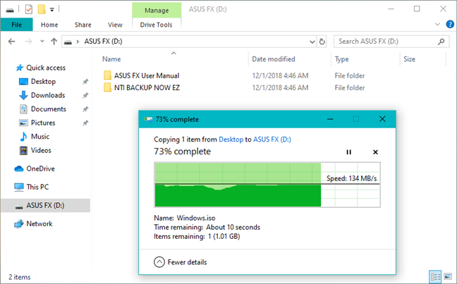 Copying a large file from Windows 10 to the ASUS FX HDD