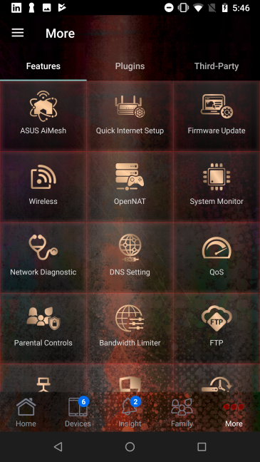 The ASUS router mobile app for Android