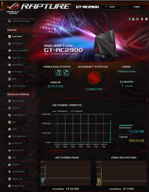 The firmware on the ASUS ROG Rapture GT-AC2900