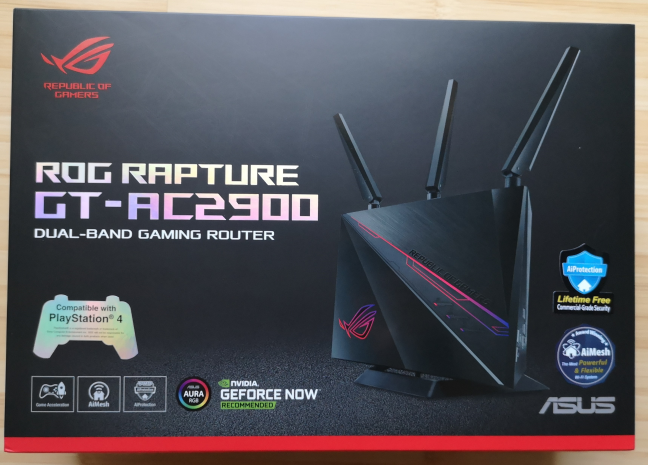 The packaging of the ASUS ROG Rapture GT-AC2900 wireless router