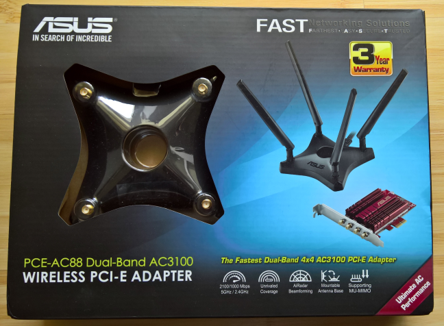 ASUS PCE-AC88, wireless, PCI-Express, PCIe, network, card, adapter, 802.11ac