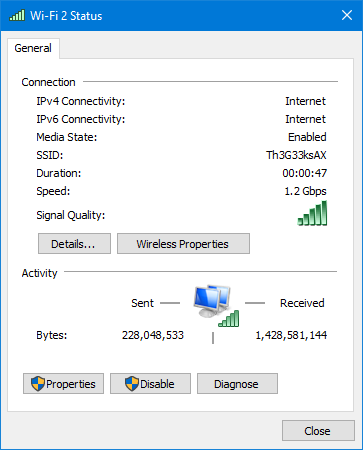 The Wi-Fi connection with ASUS PCE-AX58BT on Windows 10