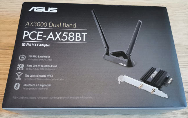 The packaging used for the ASUS PCE-AX58BT