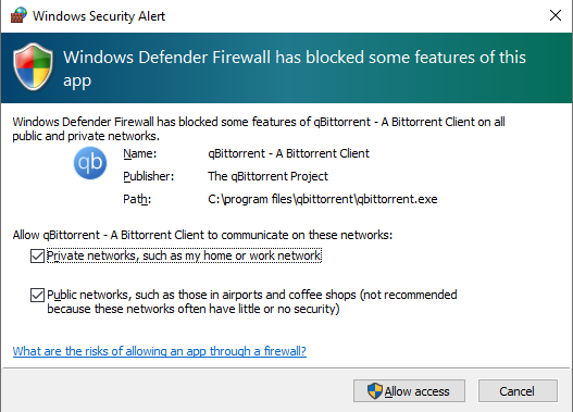 Windows Defender Firewall asking if you want to allow access for your BitTorrent client