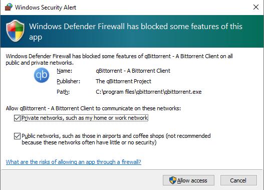 Firewall de Windows Defender preguntando si desea permitir el acceso a su cliente BitTorrent