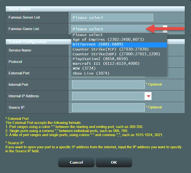 Agregue las reglas de reenvío de puertos de BitTorrent predeterminadas