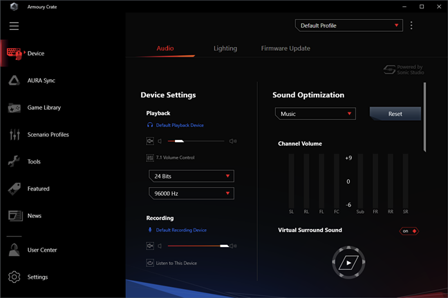 ASUS ROG Delta: Audio settings in the Armoury Crate app