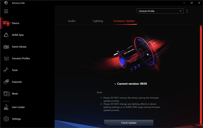 ASUS ROG Delta: Firmware update is done from the Armoury Crate app