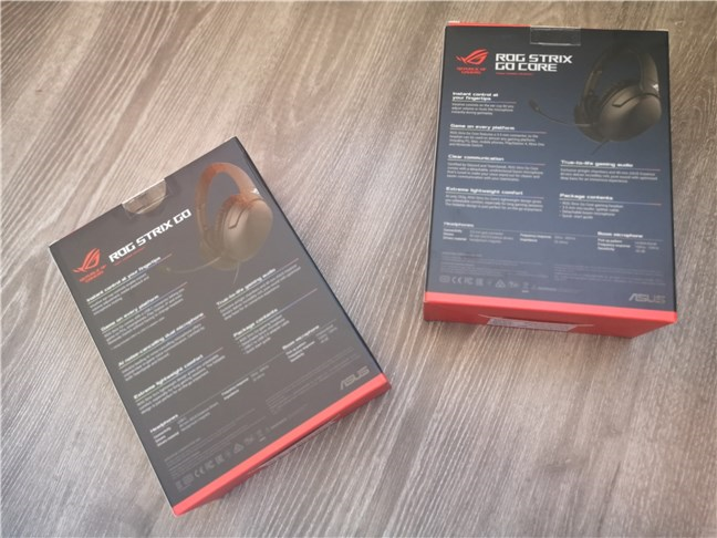 ASUS ROG Strix Go & ASUS ROG Strix Go Core: The back of the boxes