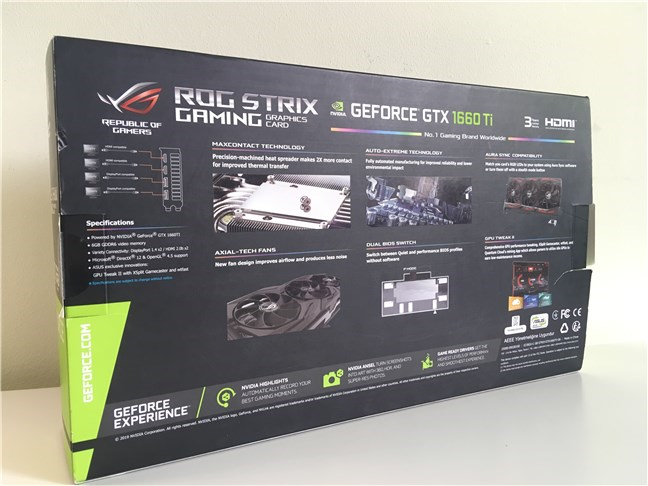 ASUS ROG STRIX GTX 1660 Ti GAMING OC - The back side of the box