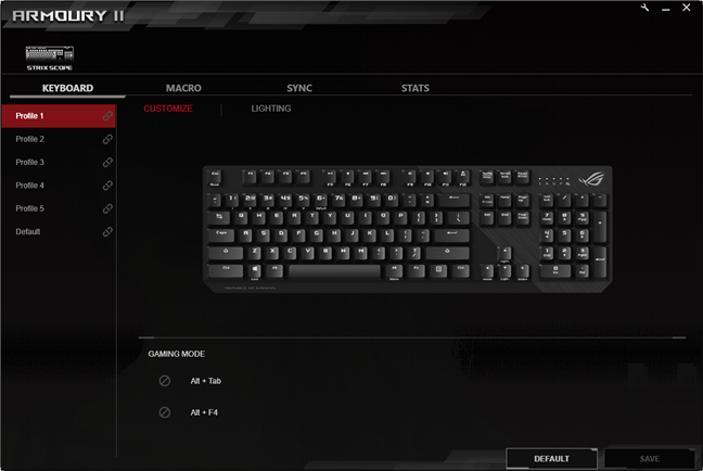 The ASUS ROG Armoury 2 software
