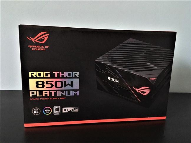 The box of the ASUS ROG Thor 850W Platinum PSU