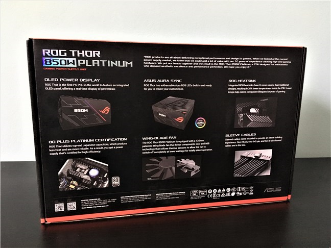 ASUS ROG Thor 850W Platinum PSU: the back of the box