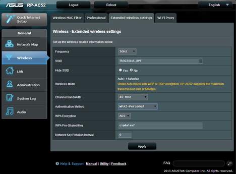 ASUS RP-AC52, WPS, range, extender, wireless, network, dual-band, 802.11ac