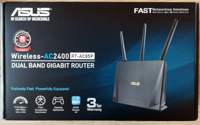 The packaging for ASUS RT-AC85P