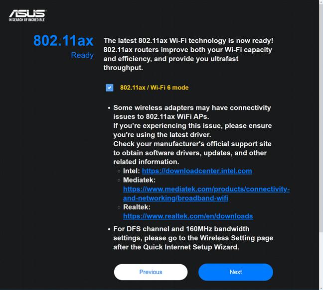 Enabling Wi-Fi 6 on ASUS RT-AX58U