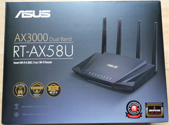 The packaging of the ASUS RT-AX58U AX3000 dual-band wireless router